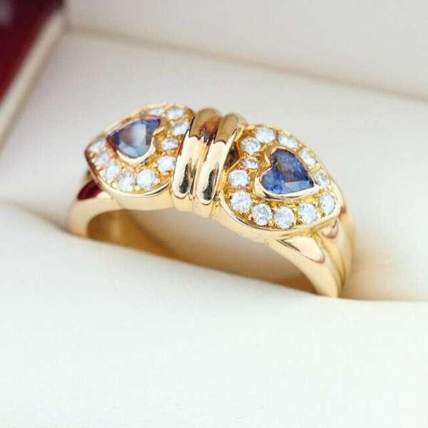 Ring Herz Ceylon Saphir Brillanten Gold 750 0,52 ct gr. 58
