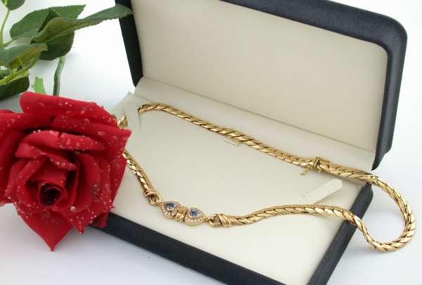 Collier Herz Ceylon-Saphir Brillanten Gold 750 0,80ct 73g