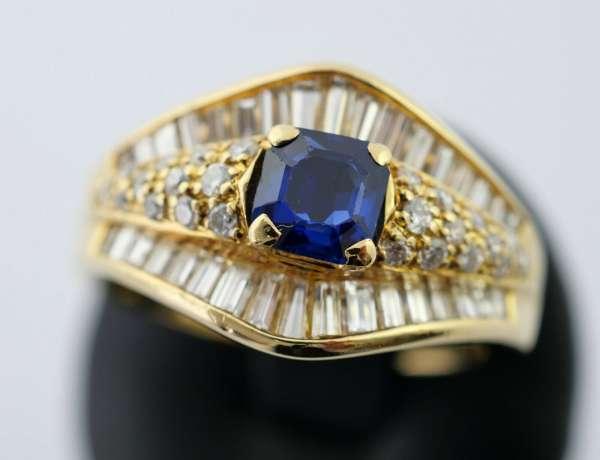 Ring 750 Gold Saphir 0,62 Kt. Brillant Diamant 1,08 Kt. 55 Wempe Zertifikat