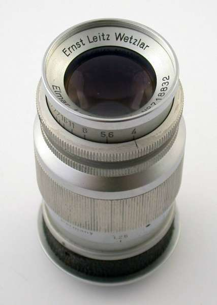 LEICA Elmar 4/90 90 90mm f4 4 M39 LTM sharkskin 718832 1949 rare