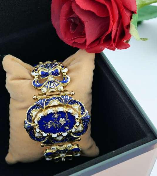Bracelet ear rings Emaille Gold 750 diamonds antik