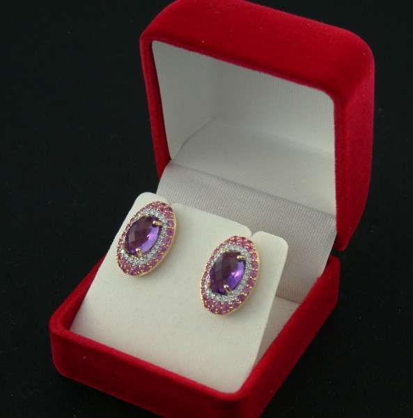Ohr-Ringe Rosegold 585 Brillanten pink Saphir Amethyst