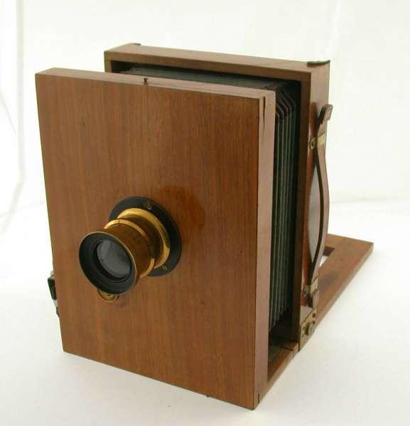 Holz-Kamera 13x18 5x7 Messing Objektiv Film Halter um 1900 antik
