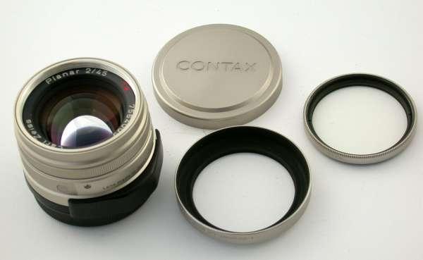 ZEISS Contax G G1 G2 Planar 2/45 45 45mm F2 T* top + Extras