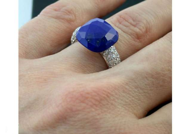 Ring Gold 750 lapis lazuli 1,08 ct brilliant cut diamond size 52 as new