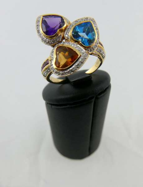 Ring 750 white yellow gold heart ruby topaz citrine diamond size 60