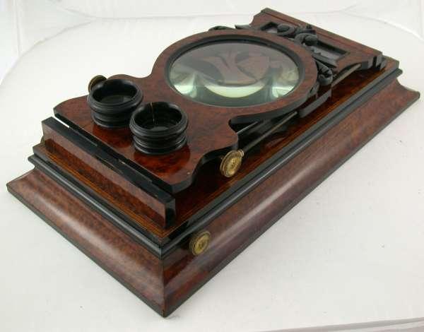 Graphoskop Stereo Wurzelholz 57x29 cm loupe 18cm schön
