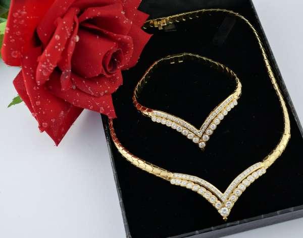 750 Gold Premium Brillant Collier und Armband hochklassig