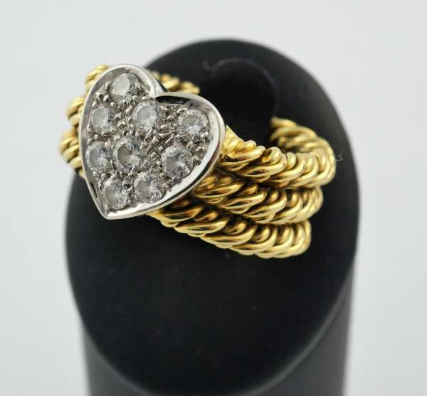Ring Kettenring Gold 750 Herz Brillanten 0,45 Karat charmant Gr. 54