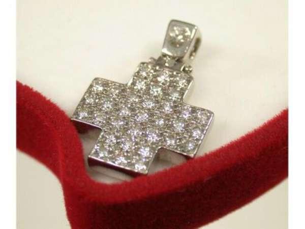 Collier Cross Pendant white gold 750 brillant 0,67 ct diamonds