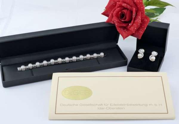 Premium Schmuck Perlen Armband und Ohr Clips Blillianten