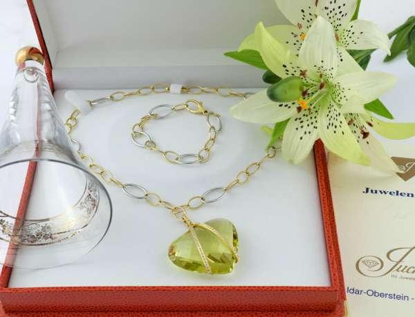 Collier Armband Necklace bracelet set 133ct Lemonquarz Brillanten Herz Gold 750