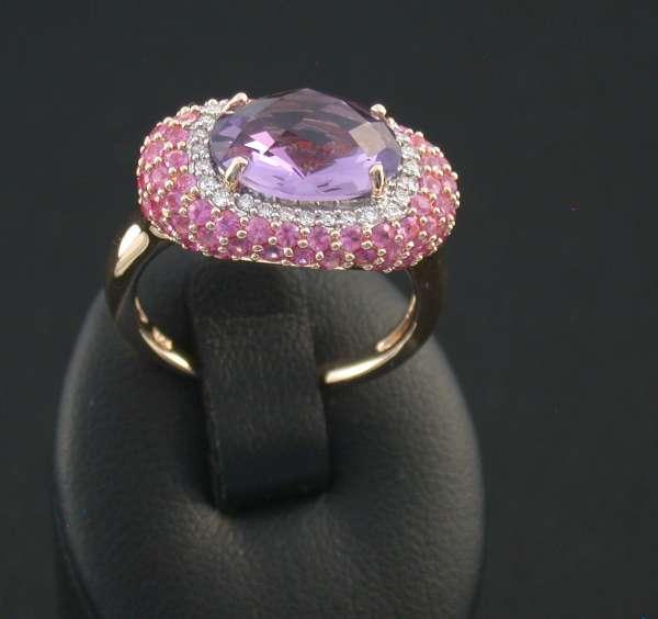Ring rose Gold 585 Brillanten pink Saphir Amethyst Gr 52 wunderschön