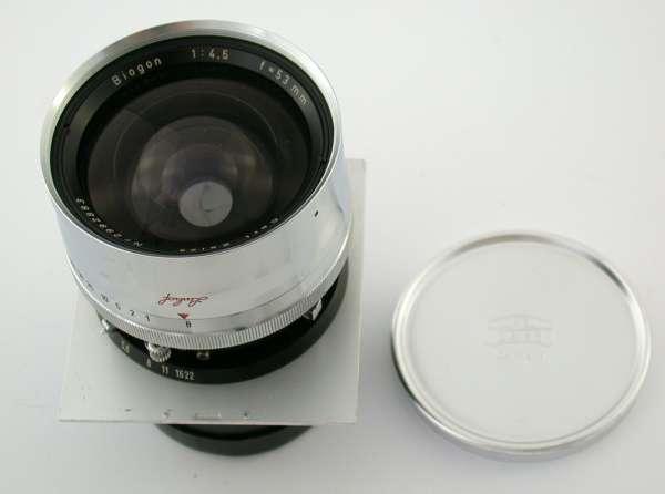 ZEISS Biogon 4,5/53 53 53mm F4,5 4,5 Linhof Technika small lens board 7,4x8,1 cm