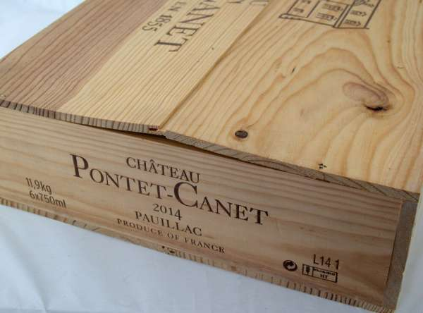6x 0,75l Chateau PONTET CANET Pauillac 2014 red wine wooden box
