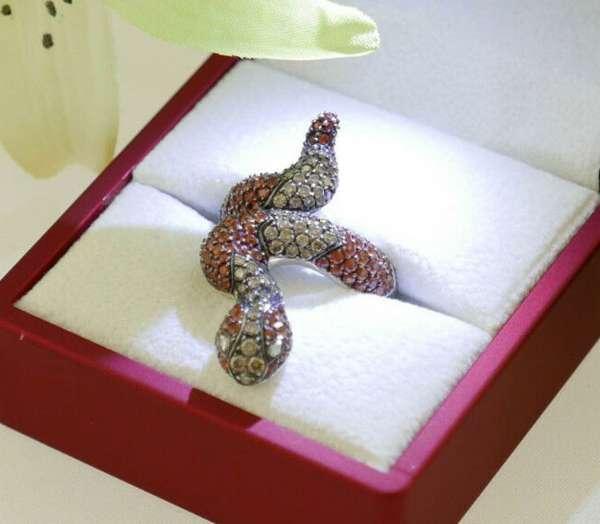 Ring snake gold 750 diamond sapphire size 53 top