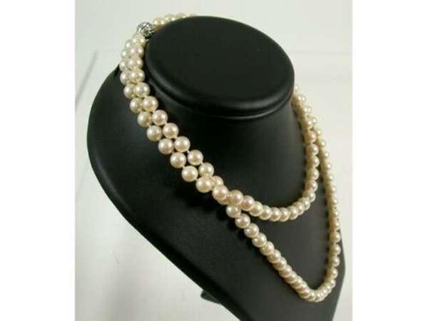 Kette Collier Perlen Weiß-Gold 585 Diamant 0,5 ct