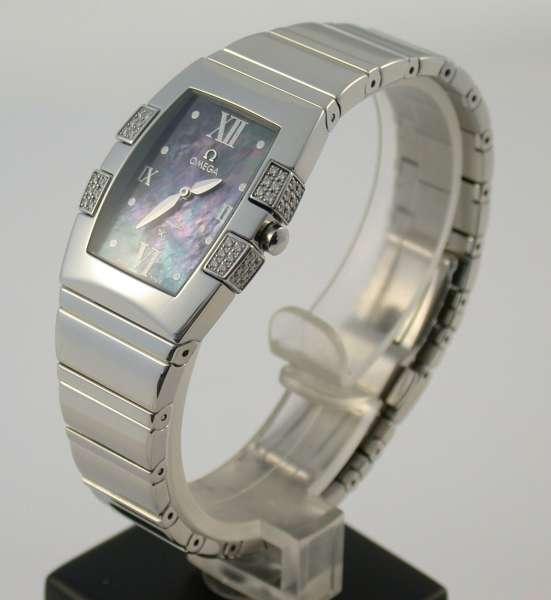 OMEGA Constellation Quadrella Damen Uhr Stahl Diamanten Brillanten