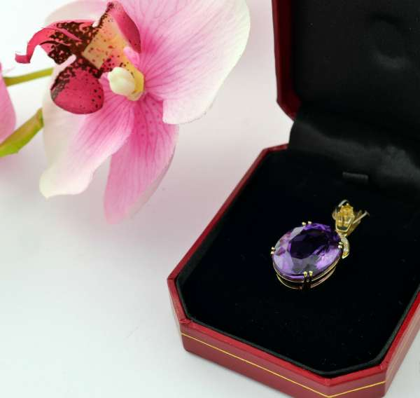 Anhänger 585 Gold Amethyst 15ct Diamant 0,35 ct opulent