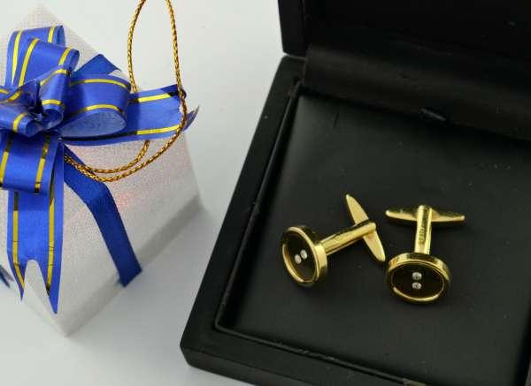Cufflinks 585 Gold Master's mark FS diamond button
