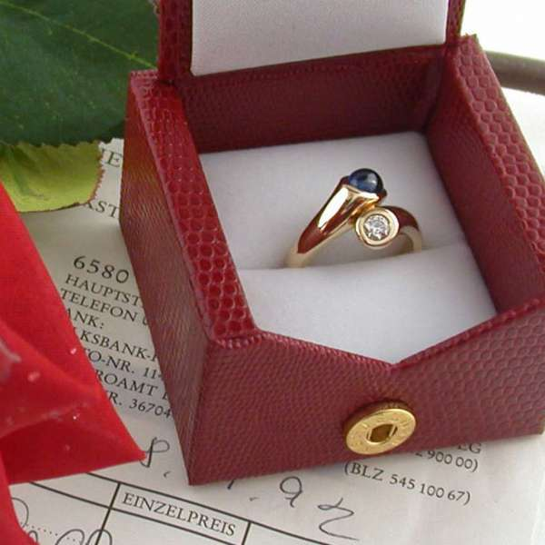 Ring Saphir Brillant 0,16 ct TW IF Gold 585 RW 51 Einzelanfertigung top