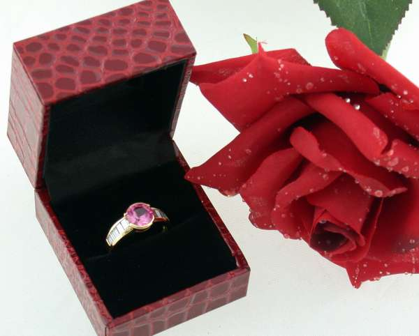 Ring 750 Gold Diamant 0,50 ct synthetic pink Saphir Gr. 53 top 7 Gramm