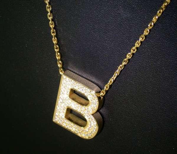 "Hals-Kette Damen Gold 750 Initiale ""B"" Brillant 1,10"