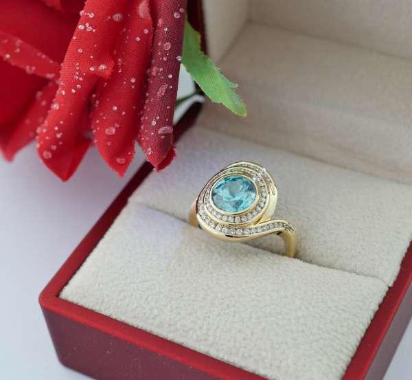 De Melo ring 585 gold zirkone blue 2,5 ct diamond 0,7 ct playful beautiful size 55